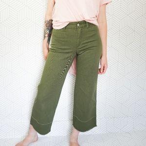 GAP Green High Waist Wide Leg Crop Pant
